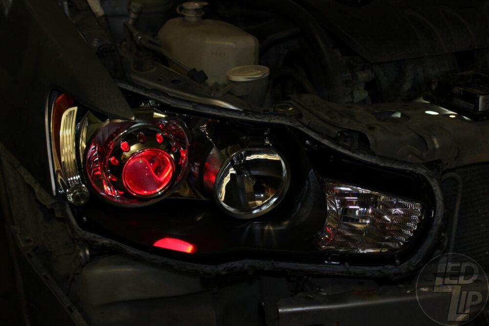 Установка галогенных линз Mitsubishi Lancer X