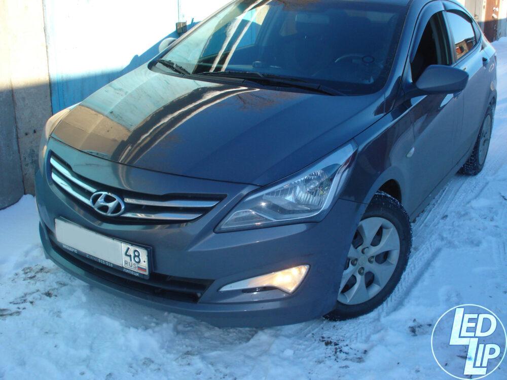 Подключение штатных ДХО Hyundai Solaris через кнопку