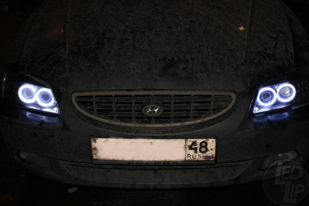 Замена ангельских глазок в фарах ProSport Hyundai Accent