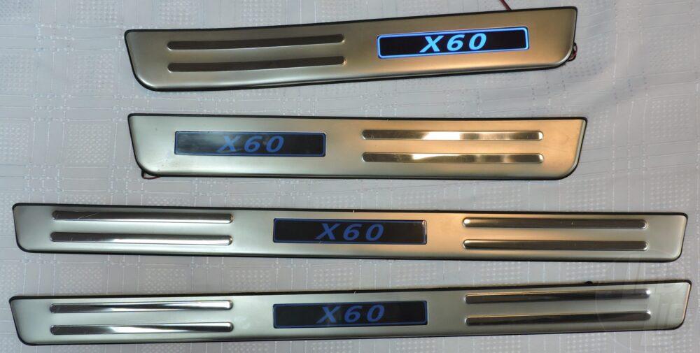 Накладки на пороги с подсветкой Lifan Х60