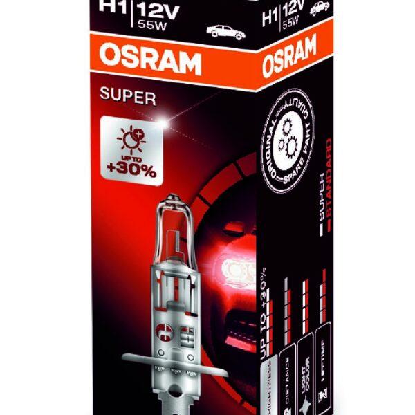 Галогенная автолампа Osram H1 Super +30% (12V,55W), (64150SUP)