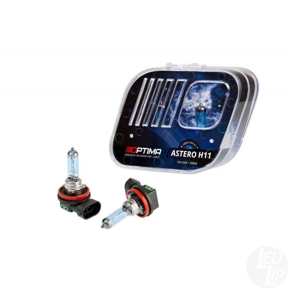 Галогенные лампы H11 +80% White 5000K Optima Astero