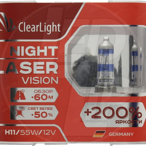 Галогеновая лампа ClearLight Night Laser Vision +200% H7 12V-55W