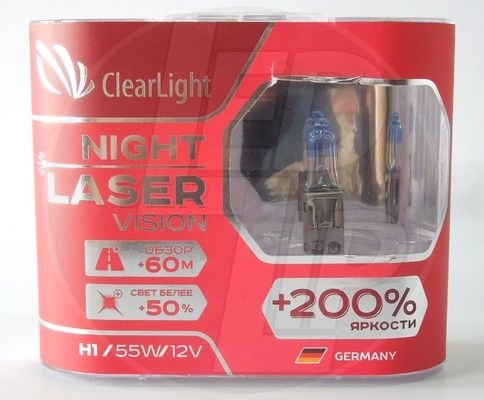 Галогеновая лампа ClearLight Night Laser Vision +200% Light H1 (2 шт.)