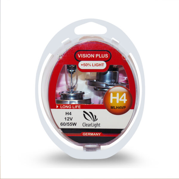 Галогеновая лампа ClearLight Vision Plus H4 12V-55W +50%